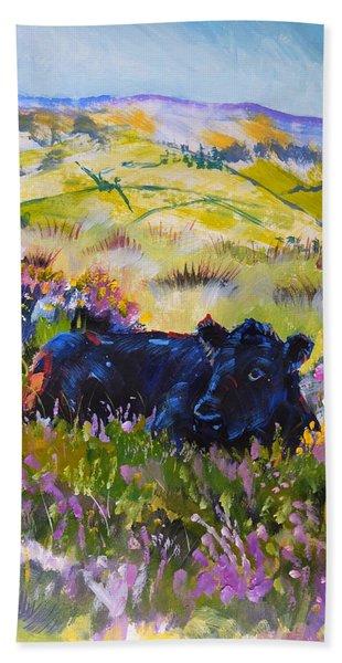 Cow Lying Down Among Plants Hand Towel