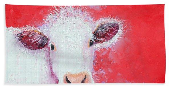 Cow Painting - Charolais Hand Towel