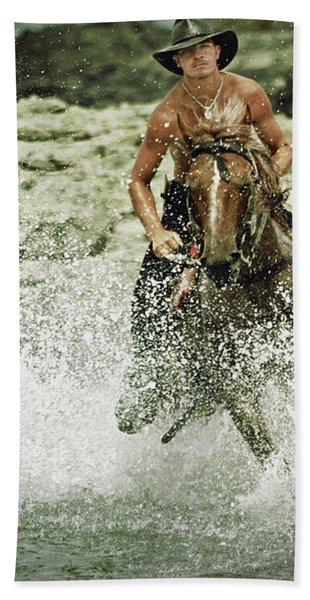 Cowboy Riding Horse Across The River Bath Towel