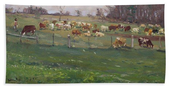 Cows In A Farm, Georgetown  Bath Towel