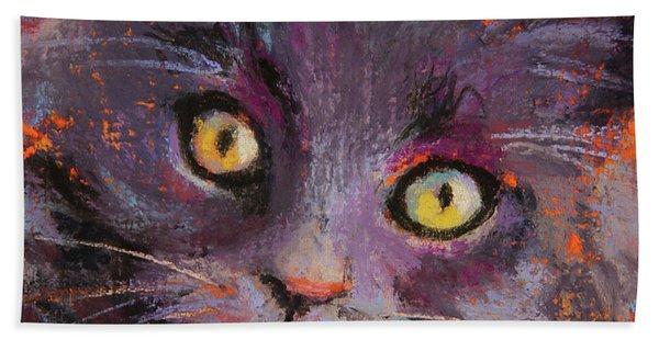 Crazy Cat Black Kitty Hand Towel