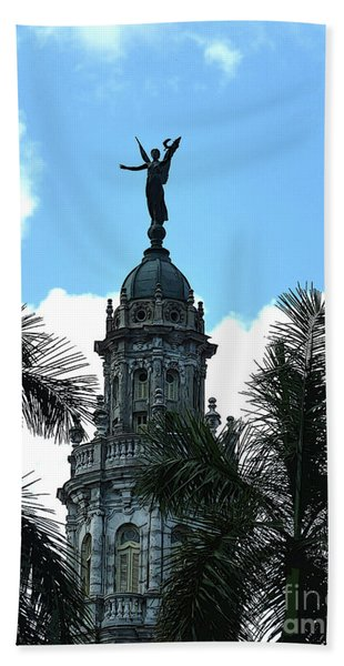 Cuba Rooftop W Protection Statue Hand Towel