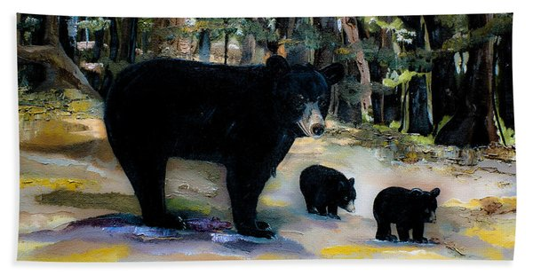 Cubs With Momma Bear - Dreamy Version - Black Bears Hand Towel