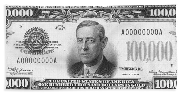 Currency: 100,000 Dollar Bill Hand Towel