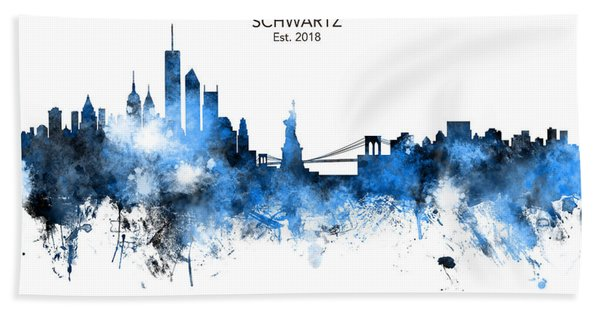 Custom New York Skyline Bath Towel