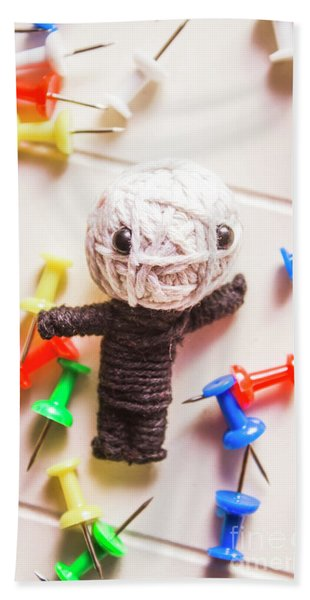 Cute Doll Made From Yarn Surrounded By Pins Bath Towel