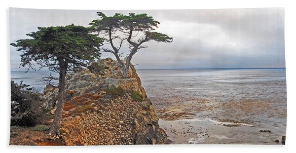 Cypress Tree At Pebble Beach Bath Towel