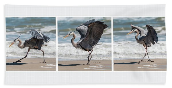 Bath Towel featuring the photograph Dancing Heron Triptych by Patti Deters