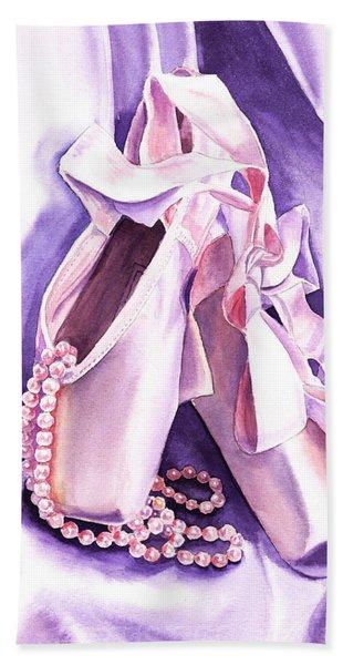 Dancing Pearls Ballet Slippers  Hand Towel
