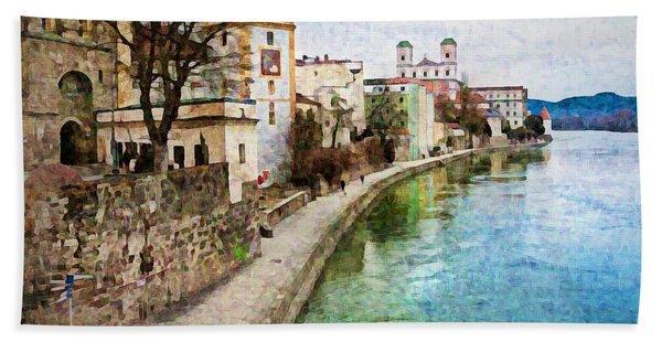 Danube River At Passau, Germany Bath Towel