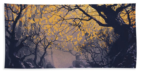 Bath Towel featuring the painting Dark Forest by Tithi Luadthong