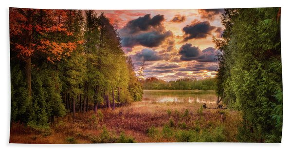 Dawn At The Lake Hand Towel