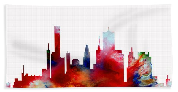 Bath Towel featuring the painting Decorative Skyline Abstract  Houston T1115d by Mas Art Studio