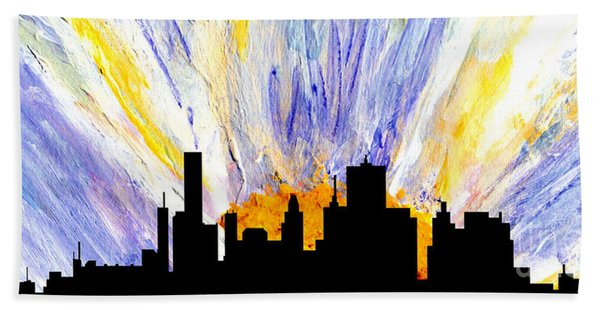 Bath Towel featuring the painting Decorative Skyline Abstract  Houston T1115v1 by Mas Art Studio