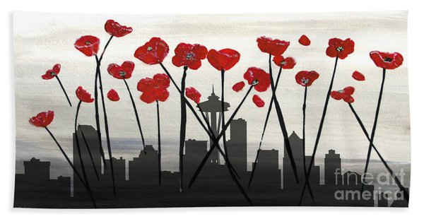 Bath Towel featuring the painting Decorative Skyline Abstract  Seattle T1115x1 by Mas Art Studio