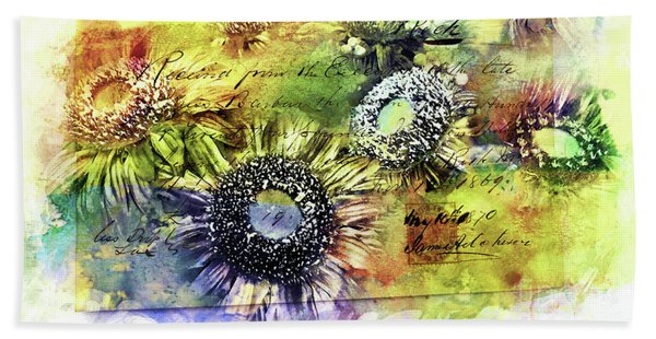 Bath Towel featuring the painting Decorative Sunflowers Mixed Media A772016  by Mas Art Studio