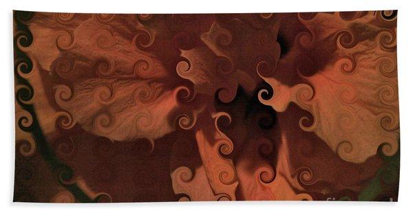 Deep Wine Curlicue Hibiscus Bath Towel