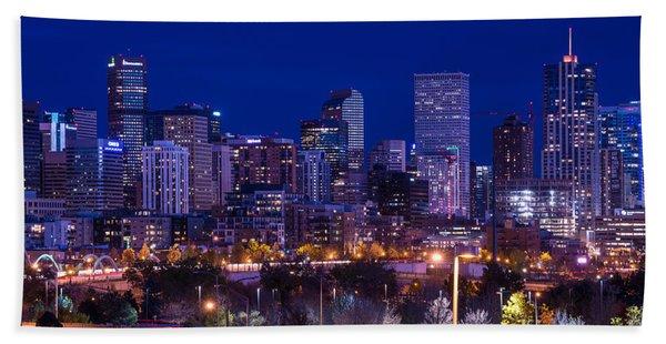 Denver Skyline At Night - Colorado Hand Towel