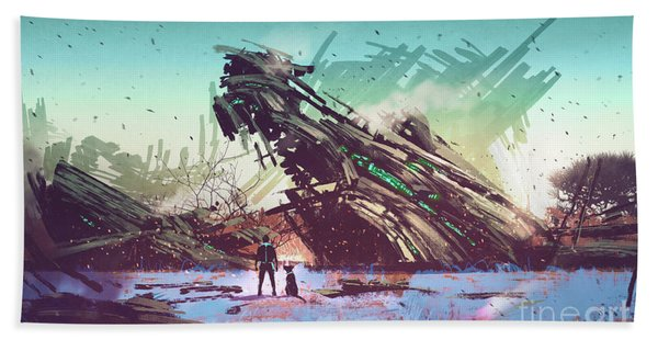 Hand Towel featuring the painting Derelict Ship by Tithi Luadthong