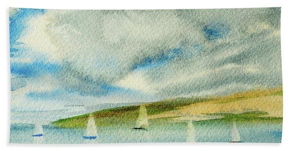 Dark Clouds Threaten Derwent River Sailing Fleet Hand Towel