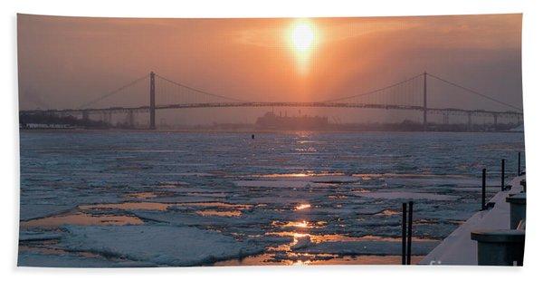 Detroit River Sunset Hand Towel