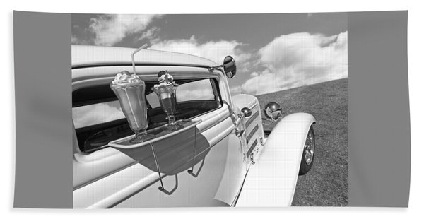 Deuce Coupe At The Drive-in Black And White Hand Towel
