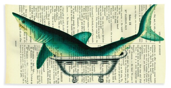 Shark In Bathtub Illustration On Dictionary Paper Hand Towel