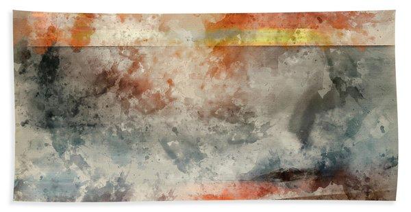 Digital Watercolor Painting Of Beautiful Sunset Landscape Image Of Burton Bradstock Golden Cliffs In Hand Towel