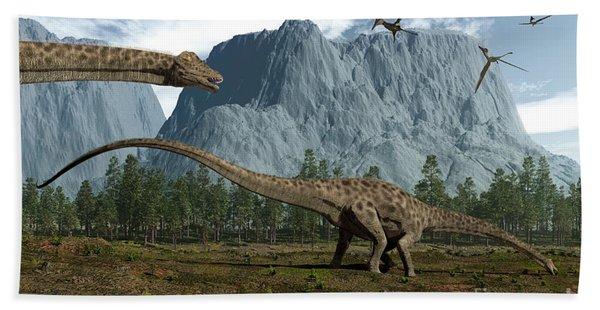 Diplodocus Dinosaurs Graze While Hand Towel