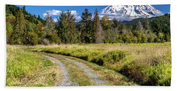 Dirt Road To Mt Rainier Hand Towel