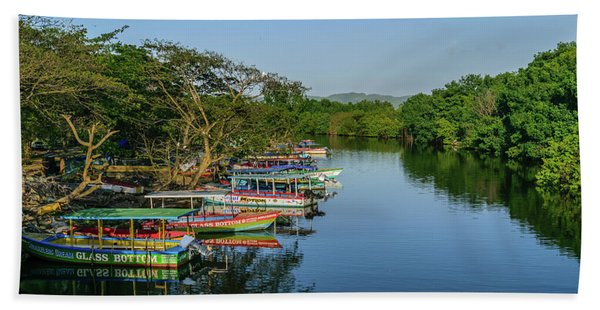 Boats By The River Hand Towel