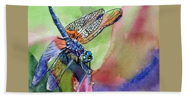 Dragonfly Of Many Colors Hand Towel