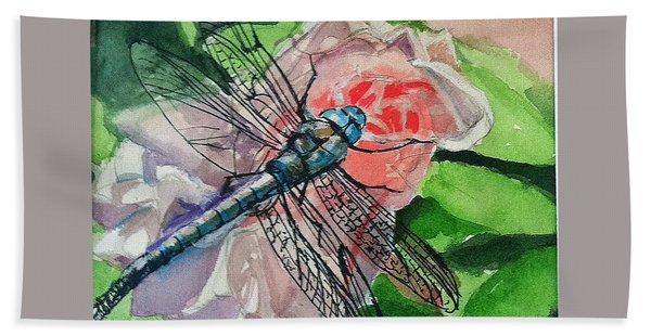 Dragonfly On Rose Bath Towel