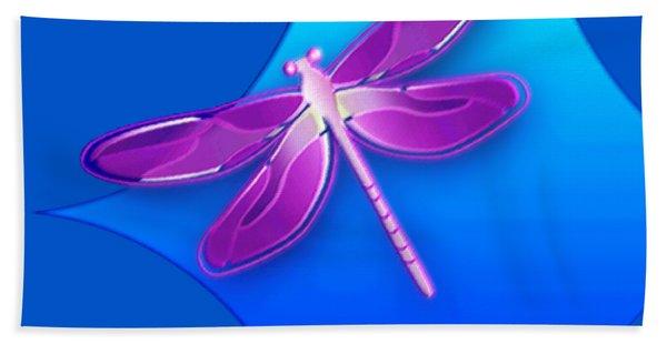 Dragonfly Pink On Blue Bath Towel