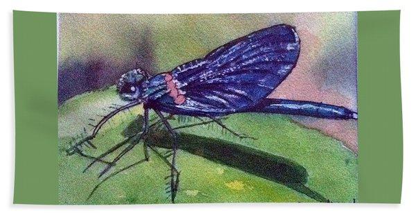 Dragonfly With Shadow Bath Towel