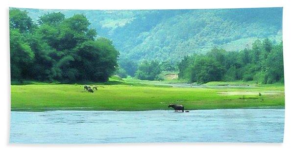 Animals In Li River Bath Towel