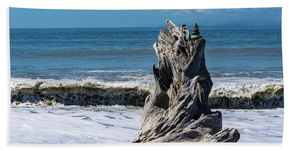 Driftwood In The Surf Hand Towel