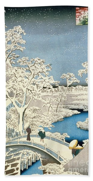 Drum Bridge And Setting Sun Hill At Meguro Hand Towel