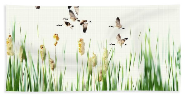 Ducks In Flight - Migration  Bath Towel