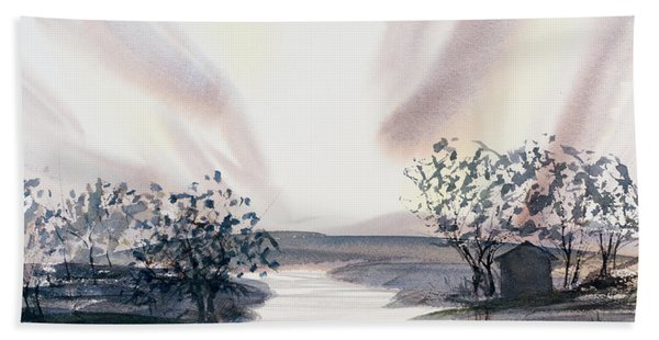 Dusk Creeping Up The River Hand Towel