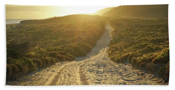 Early Morning Light On 4wd Sand Track Bath Towel