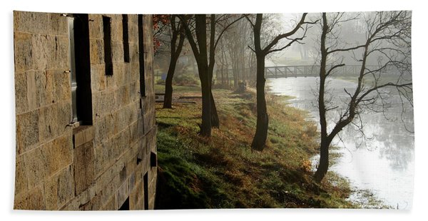 Early Morning Mist On The I  M Canal Bath Towel