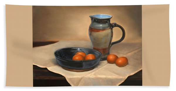 Eggs And Pitcher Hand Towel