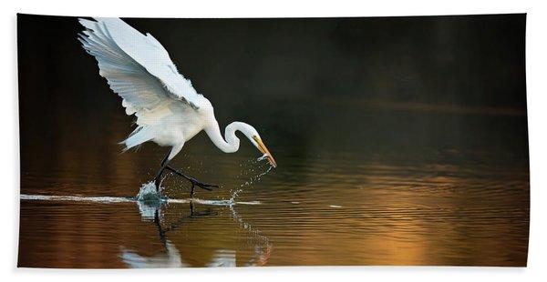 Egret At Sunset Bath Towel