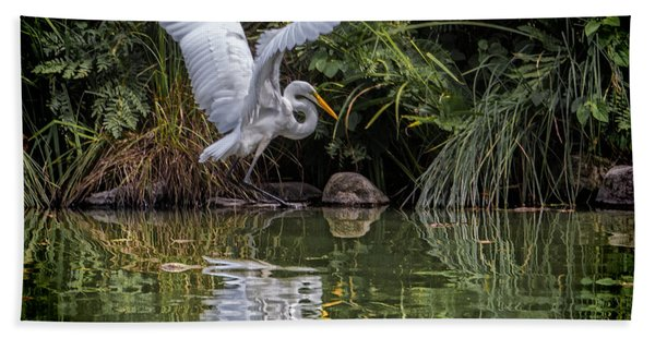 Egret Hunting For Lunch Hand Towel