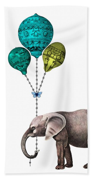 Elephant Holding Blue And Yellow Balloons Hand Towel