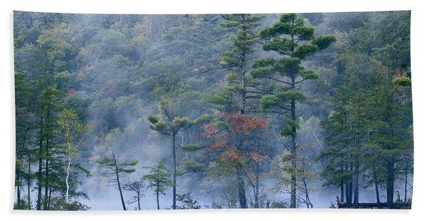 Emerald Lake In Fog Emerald Lake State Bath Towel