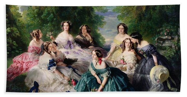Empress Eugenie Surrounded By Her Ladies In Waiting Hand Towel