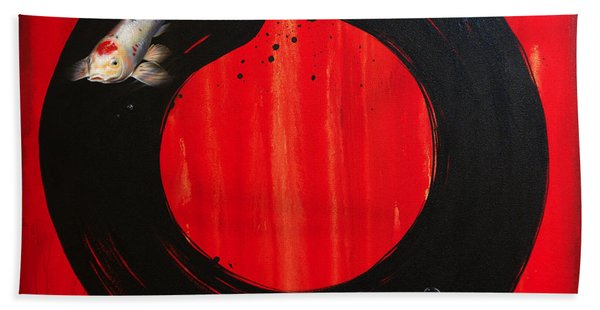 Enso With Koi Red And Gold Hand Towel
