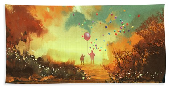 Bath Towel featuring the painting Enter The Fantasy Land by Tithi Luadthong